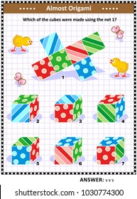 IQ training visual math puzzle (suitable both for kids and adults): When the 1 is folded to form a cube, which of the 2 - 7 can be produced? Answer included.