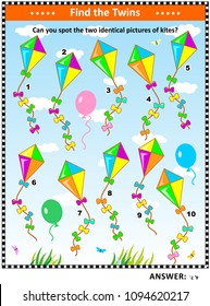 IQ training visual puzzle with colorful kites: Find the two identical pictures of kites. Suitable both for children and adults. Answer included.