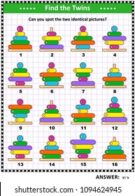 IQ training visual puzzle with colorful kites: Find the two identical pictures of colorful ring stackers. Suitable both for children and adults. Answer included.