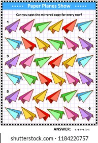IQ training visual puzzle with colorful ppaper planes: Match the pairs - find the exact mirror copy for every row. Answer included.