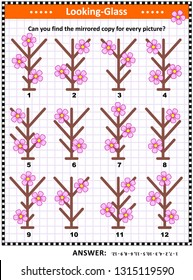IQ training visual puzzle with first spring flowers: Can you find the mirrored copy for every picture? Answer included.