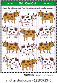 IQ training visual puzzle with milk cows on the pasture (suitable both for kids and adults): Spot the odd one out. Find the unique picture. Answer included.