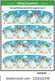 IQ training visual puzzle with skiing snowmen: Find the mirrored copy for row 1. Answer included.
