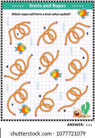 IQ training visual puzzle: Which of the ropes will form a knot when pulled by the ends? Answer included.