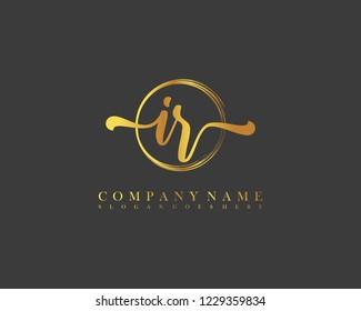 IR initial handwriting logo circle template vector