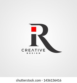 IR Initial logo Lettering Vector. Black and Red monogram logo.
