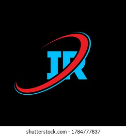 IR I R letter logo design. Initial letter IR linked circle uppercase monogram logo red and blue. IR logo, I R design. ir, i r