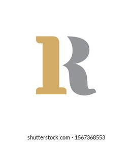 IR or RI Initial logo Capital Letters Gold and Grey colors