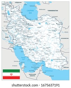 Iran Detail Map White Color. Image contains layers with outline contours, land names, city names, water objects and it's names, highways.