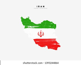 Iran detailed map with flag of country. Painted in watercolor paint colors in the national flag.