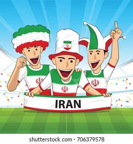 Iran Flag. Cheer football support Vector illustration.