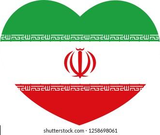 Iran flag, Heart vector, sticker, eps10