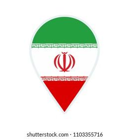 Iran flag icon. Travel icon. Travel destination of Iran. Iran badge. Flag badge.