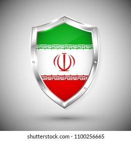Iran flag on metal shiny shield vector illustration. Collection of flags on shield against white background. Abstract isolated object.