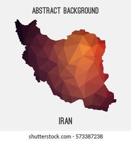 Iran in geometric polygonal style.Abstract tessellation,modern design background. Vector illustration