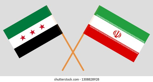 Iran and Interim Government of Syria. The Iranian and Coalition flags. Official colors. Correct proportion. Vector illustration
