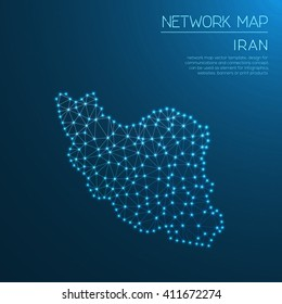 Iran, Islamic Republic Of network map. Abstract polygonal map design. Internet connections vector illustration.