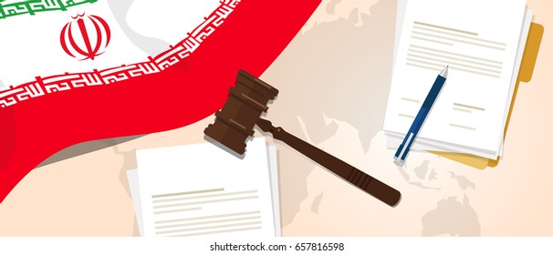 Iran law constitution legal judgment justice legislation trial concept using flag gavel paper and pen vector