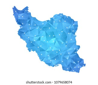 Iran Map - Abstract geometric rumpled triangular low poly style gradient graphic on white background , line dots polygonal design for your . Vector illustration eps 10.