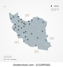 Iran map with borders, cities, capital Tehran and administrative divisions. Infographic vector map. Editable layers clearly labeled.