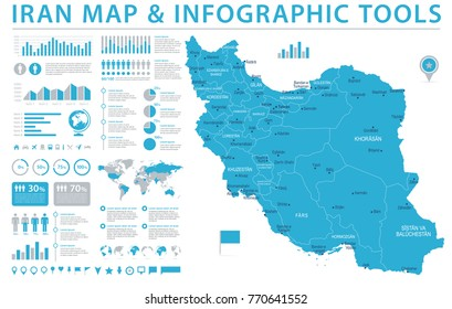 Iran Map - Detailed Info Graphic Vector Illustration