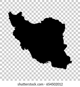 Iran map isolated on transparent background. Black map for your design. Vector illustration, easy to edit.