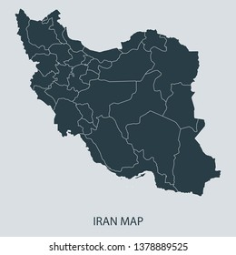 Iran map on gray background vector, Iran Map Outline Shape Gray on White Vector Illustration, Map with name. High detailed Gray illustration map Iran.
