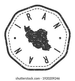 Iran Map Stamp Retro Postmark. Silhouette Postal Passport. Seal Round Vector Icon. Badge Vintage Postage Design.