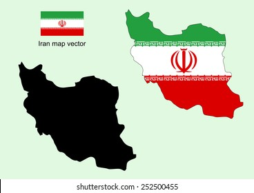 Iran map vector, Iran flag vector
