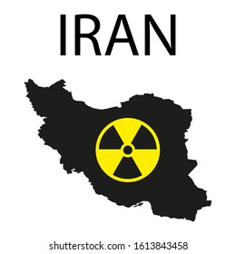 Iran and nuclear power - Iranian country and symbol of atomic radiation. Vector illustration.