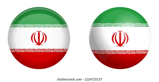 Iran (Persia) flag under 3d dome button and on glossy sphere / ball.