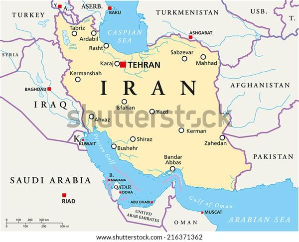 Iranin Poliittinen Kartta Paakaupunki Teheran Kansalliset