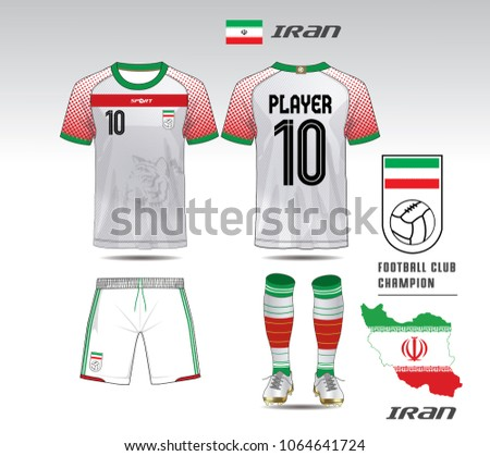 48ebf9287 Iran soccer jersey or team apparel template. Mock up Football uniform for  football club. White and red layout football sport t-shirt design.