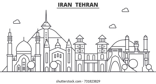 Iran, Tehran architecture line skyline illustration. Linear vector cityscape with famous landmarks, city sights, design icons. Landscape wtih editable strokes