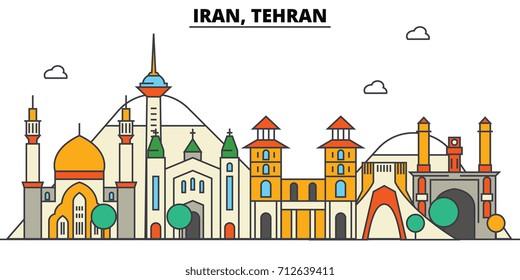 Iran, Tehran. City skyline: architecture, buildings, streets, silhouette, landscape, panorama, landmarks. Editable strokes. Flat design line vector illustration concept. Isolated icons set