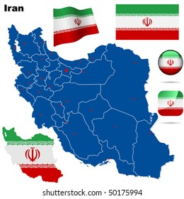 Iran vector set. Detailed country shape with region borders, flags and icons isolated on white background.