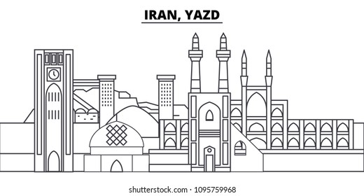 Iran, Yazd line skyline vector illustration. Iran, Yazd linear cityscape with famous landmarks, city sights, vector landscape.