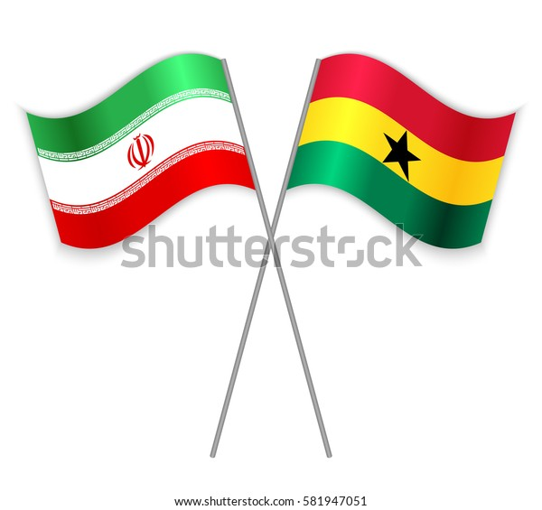 Iranian and Ghanaian crossed flags. Iran combined with Ghana isolated on white. Language learning, international business or travel concept.