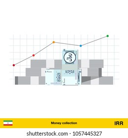 Iranian rial banknote. Growth of financial and economy concept. vector illustration.