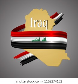 Iraq flag and map.Official election national colors.Iraqi 3d realistic icon with ribbon,map border. Emblem glory sign.Vector illustration background. Realistic icon with flag and land map stroke