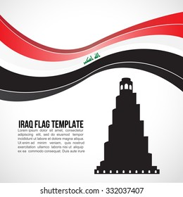 Iraq flag wave and Great Mosque of Samarra