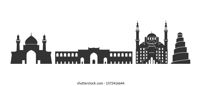 Iraq logo. Isolated Iraqi architecture on white background