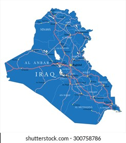 Iraq map with administrative regions, main cities and roads.