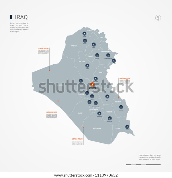Iraq Map Borders Cities Capital Baghdad Stock Vector ...