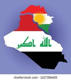 Iraq Map with Kurdistan Region separated filled with both Iraq and Kurdistan flag