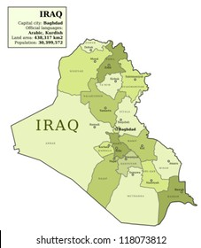 Iraq map with provinces (governorates) in various colours and cities: Baghdad, Mosul, Karbala, Najaf and others. Country information data table.