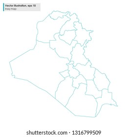 iraq map with regions vector line illustration on white background