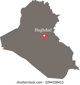 Iraq map vector outline illustration with capital location and name, Baghdad, in gray background. The borders of provinces or states are not included on this map for aesthetic appeal.