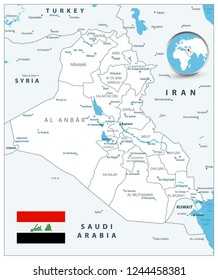 Iraq Map White Color Map. Detailed vector illustration of Iraq map.
