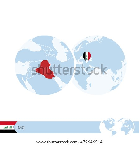 Iraq On World Globe Flag Regional Stock Vector (Royalty Free ...